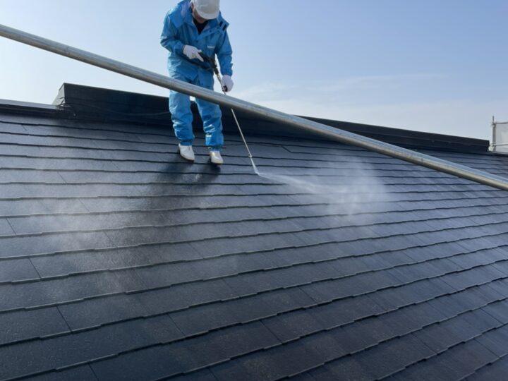 屋根 コロニアル部分 高圧洗浄