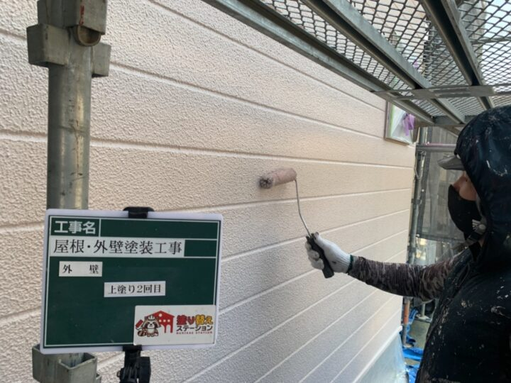外壁 上塗り(上塗り 2回目)