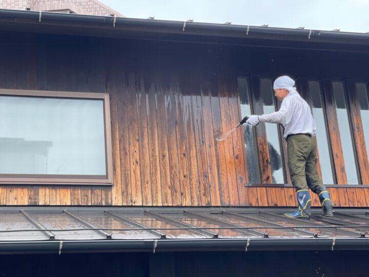 木部塗装2階 高圧洗浄