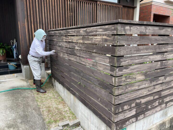 目隠し木フェンス 清掃