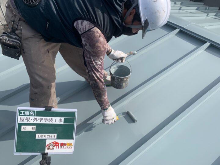 屋根 上塗り 2回目